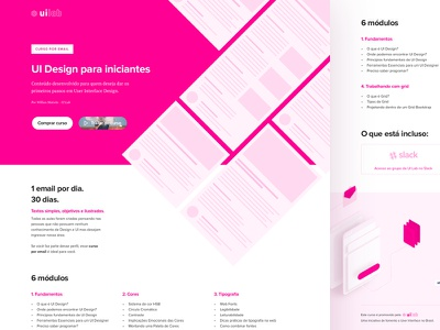 Course Landing Page typography illustration newsletter pink pink ui squeeze page landing page ui design