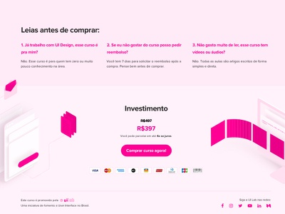 Footer for a course landing page ui design typography squeeze page pink ui pink