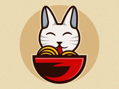 hungry cat vector catalogue cup hungry yummy noodle cats catalog cat brown colorful concept vector design illustration logo aesthetic