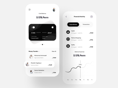 Concept Black and White App payment userinterface userxperience uxui figmadesign uxdesign page uiux payment app mobile ui design minimal branding interface daily ui designer app