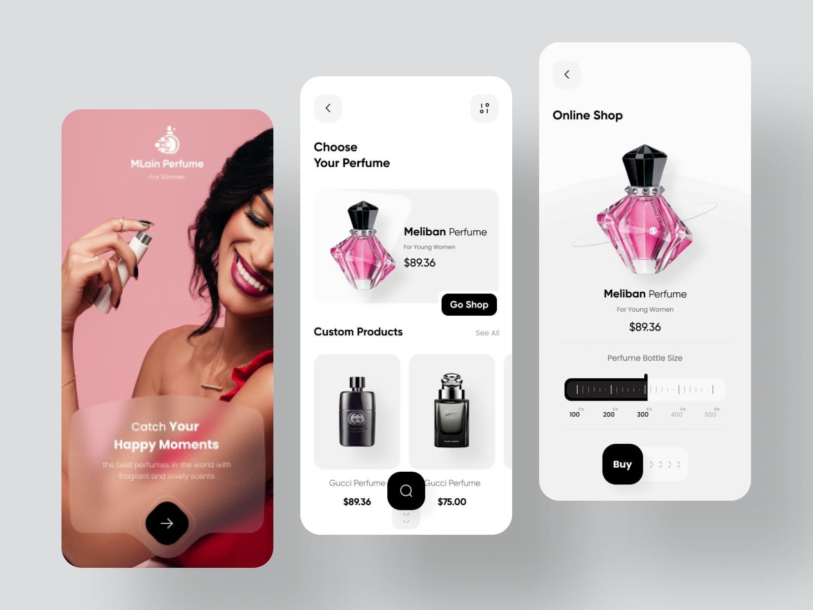Perfume Shop App Design
