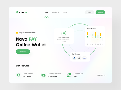 Wallet – landing page credit website mockup blockchain banking card wallet payment glass web design design designer ux clean mobile ui minimal interface daily ui