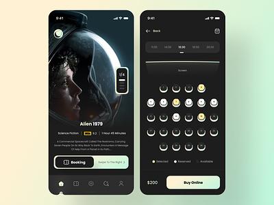 Cinema App icon mobile ui app typography branding graphic design movie app booking movies cinema movie design designer clean ux mobile ui minimal interface daily ui