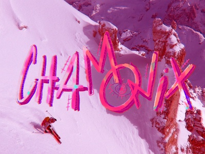 Chamonix - Lettering mountaineering movie title chamonix-mont-blanc chamonix mountain freeski skiing lettering freeride letters type illustration color palette graphic design
