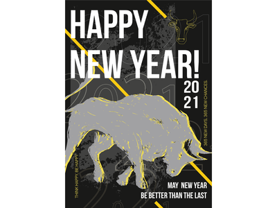 Happy Nev Year typografy poster animal illustration bull merry xmas happy new year digital art ai figure branding flat design vector illustration vector illustration