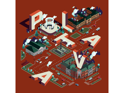 Poltava portfolio изометрия пейзаж изометрия город в изометрии полтава colors architechture ladscape isometric isometric city isometric illustration poltava branding vector illustration illustration