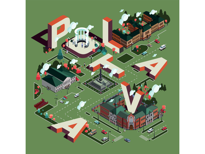 Poltava город в изометрии пейзаж полтава город иллюстрация город architecture landscape isometric city isometric design isometric illustration isometric design branding vector illustration vector