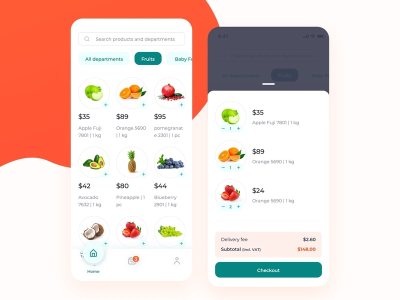 Groceries Shopping Mobile App groceries add to cart app ux grocery store design mamba typography ecommerce shop userinterface food delivery app shopping basket ux design ui design grocery app
