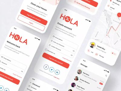 Hola Service App UI KIT ui kit startup minimal on demand app cleaning service application ux ui mobile app design