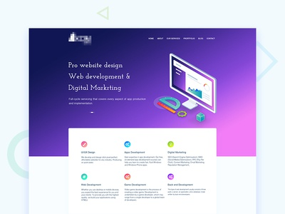 Isometric webpage design software development gradient landing page web ux design ui design isometric