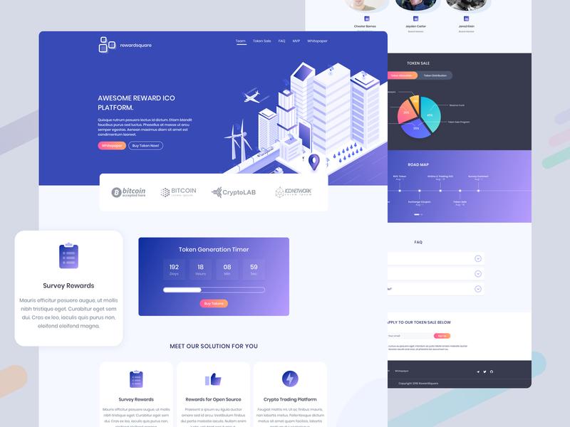 Cryptocurrency & ICO Landing Page UI token reward ico cryptocurrency blockchain ux design ui design