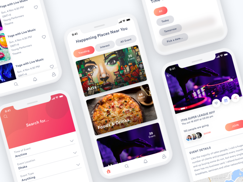 Events App UI/UX design! discover product design events app schedule booking ui design ux design events