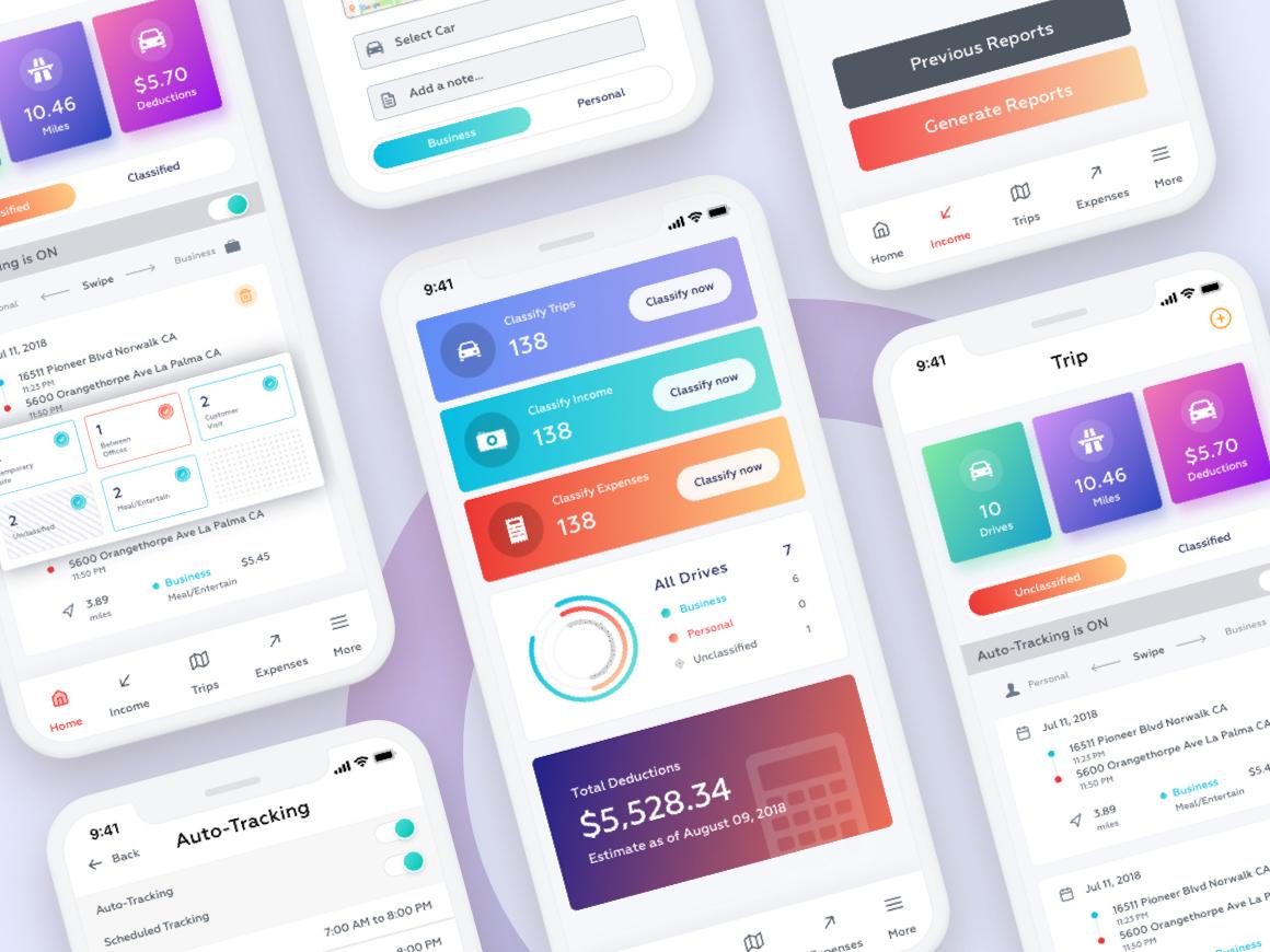Expenses mileage tracker app ui