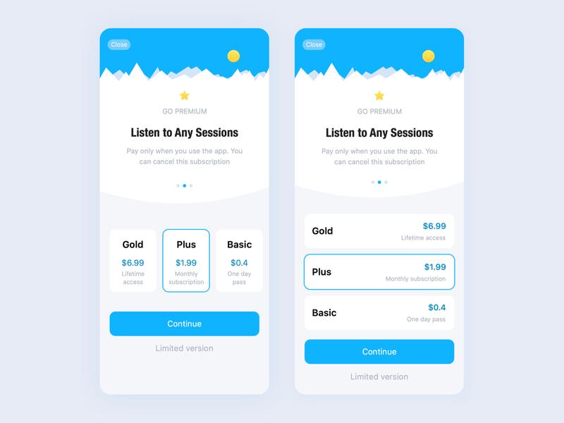 Subscription UI Design plans app ui price subscription ux design ui design