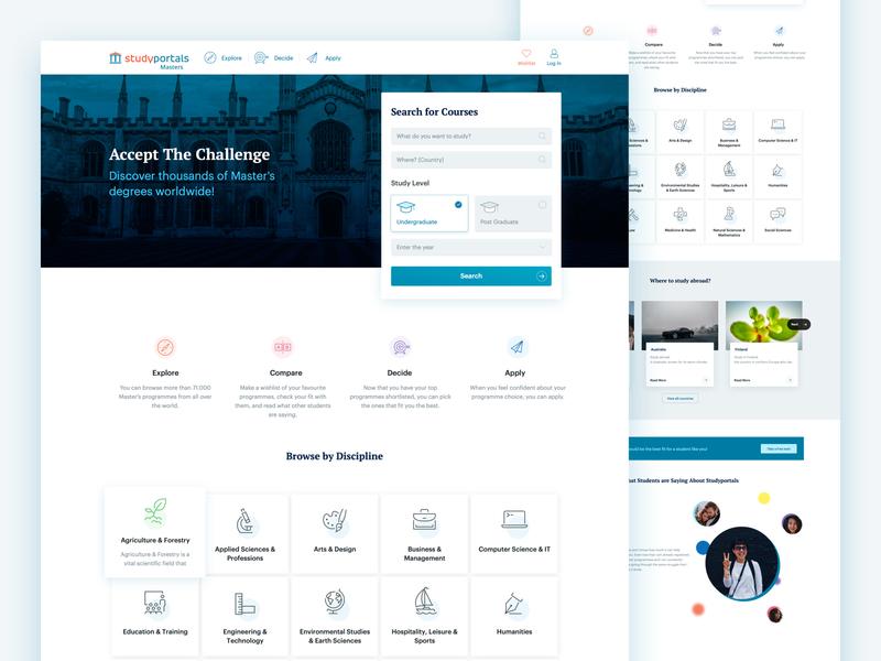 Mastersportal site redesign branding ux design ui design mastersportal mastersportal redesign
