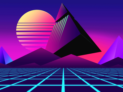 80s Retrowave futuristic Pyramids landscape background hatimbahia retro design 1980s futuristic flat sunset triangle pyramid 80s style grid landscape 3d illustration 80s background wallpaper inspiration synthwave retrowave 80s illustration design