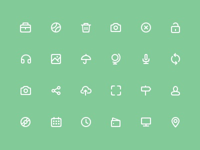 Damijan Icons umbrella picture camera trash ball briefcase recycle close green modern icons icons flat