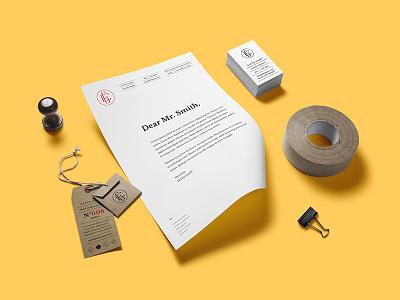 Ellya Gant paper clip stamp tape business cards branding tag