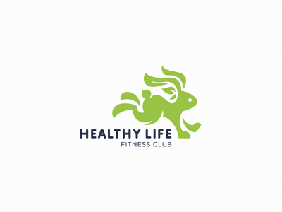 Healthy rabbit (logo for sale) vegan tree minimalism sport nature fitness health rabbit logotype logo