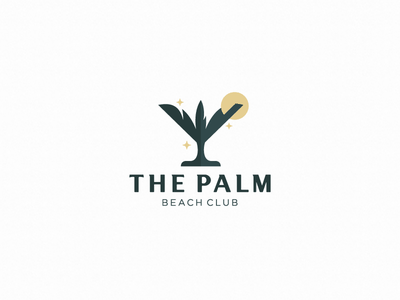the palm (logo for sale) bar alcohol glass wineglass palm beach vip premium sunshine sun club logotype logo