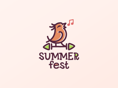 Summer fest vector style illustration logodesign logotype logo nature music note play bird