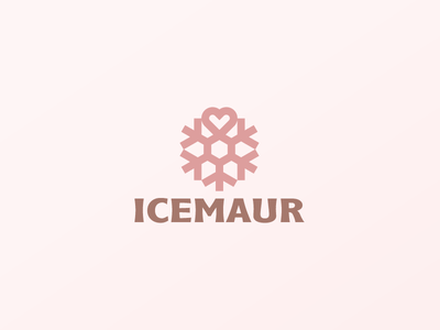 Icemaur branding nature food logotype logo minimalism heart love air conditioning ice cream crystal cold winter snowflake
