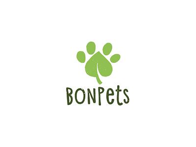 Bonpets branding logotype logo leaf footprint paw pets food feed vegan eco natural nature cat dog animals