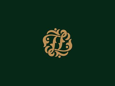 Monogram TT vector logotype logo expensive graceful pattern lettering calligraphy letters
