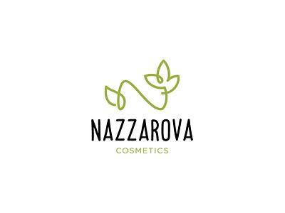 Nazzarova logotype logo monoline care woman beauty cosmetics flower leaf nature eco monogram