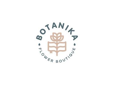 Botanika logotype logo monoline minimalism eco nature science book florist boutique flowers