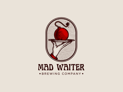 Mad waiter engraving logotype logo alcohol hand tray explosion bomb brewery beer waiter mad
