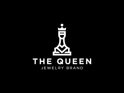 The Queen logotype logo diamonds gold shop crown minimalism woman jewelry chess queen