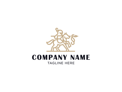 Knight of the law logotype logo shield spear paragraph lawyer law protection horse rider