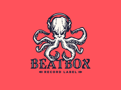 Record label vector character logotype logo producer tentacles music recording studio recording vintage engraving octopus headphones