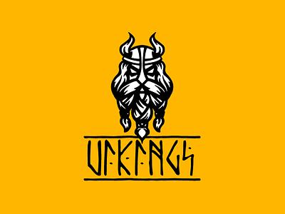 Vikings character illustration logotype logo crossfit sport horns helmet scandinavia runes sketch brutal viking beard man