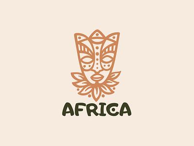 Africa ethnic hand craft eco leaf coffee tea painting patterns mask africa logotype logo