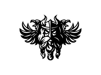 Viking illustration character logotype logo beard wing beak strength warrior horns helmet raven bird viking