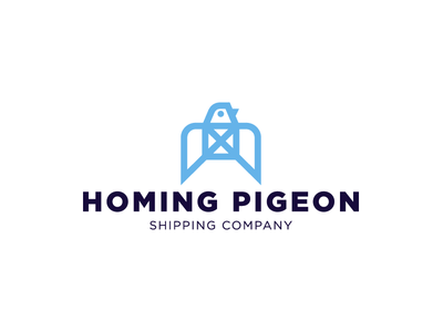 Homing pigeon geometry monoline minimalism logotype logo beak bird company letter box wings delivery mail pigeon