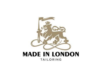 King lion logotype logo tailoring crown ornament coat of arms heraldry thread needle sewing atelier tailor flag lion king