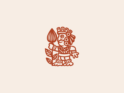 Cocoa man character logotype logo feathers chocolate coffee leaves ethnicity warrior man cocoa
