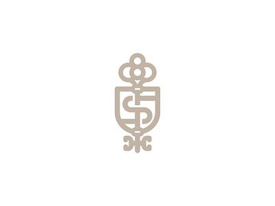 Shield and key logotype logo monoline premium trade finance business secret knowledge house realtor real estate monogram key heraldry coat of arms