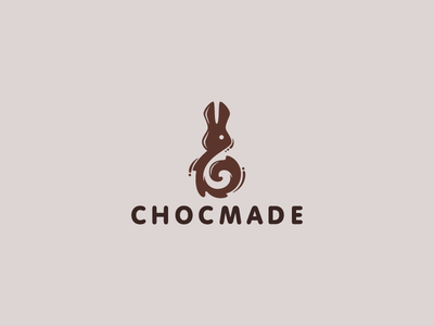Chocmade character logotype logo rabbit hare animal ears candy cocoa spiral chocolate eggs