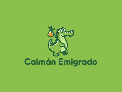 Caimán Emigrado zoo animal tgaveler travel reptile character alligator crocodile logotype logo
