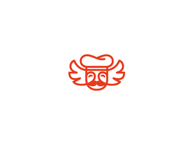 Chef With Wings Delivery Logo cook restoran cafe food delivery logo logotype character wings chef