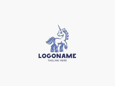 Cute Unicorn Logo character cute animals zoo horse unicorn logotype logo