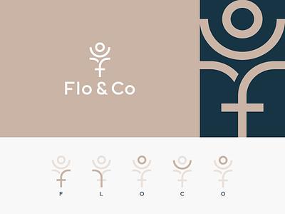 Flo & Co florist minimalism letter typography flowers nature logotype logo