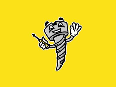 Screw building character logotype logo screw