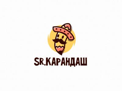 Sr. Pencil character mustache sombrero mexico mexican pencil logotype logo