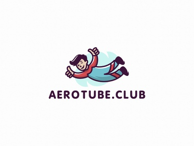Aerotube branding vector design illustration character fly sky boy logo man aerotube aerotube
