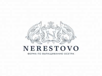 Nerestovo vintage logo logotype illustration design branding vip crown sea heraldry coat of arms monogram fish sturgeon farm